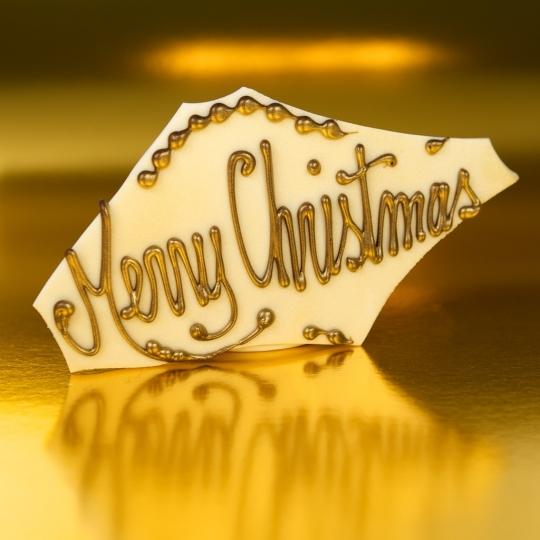 Merry Christmas White Chocolate Plaque