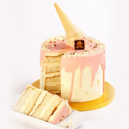 Vanilla Dripping Cake - Pink